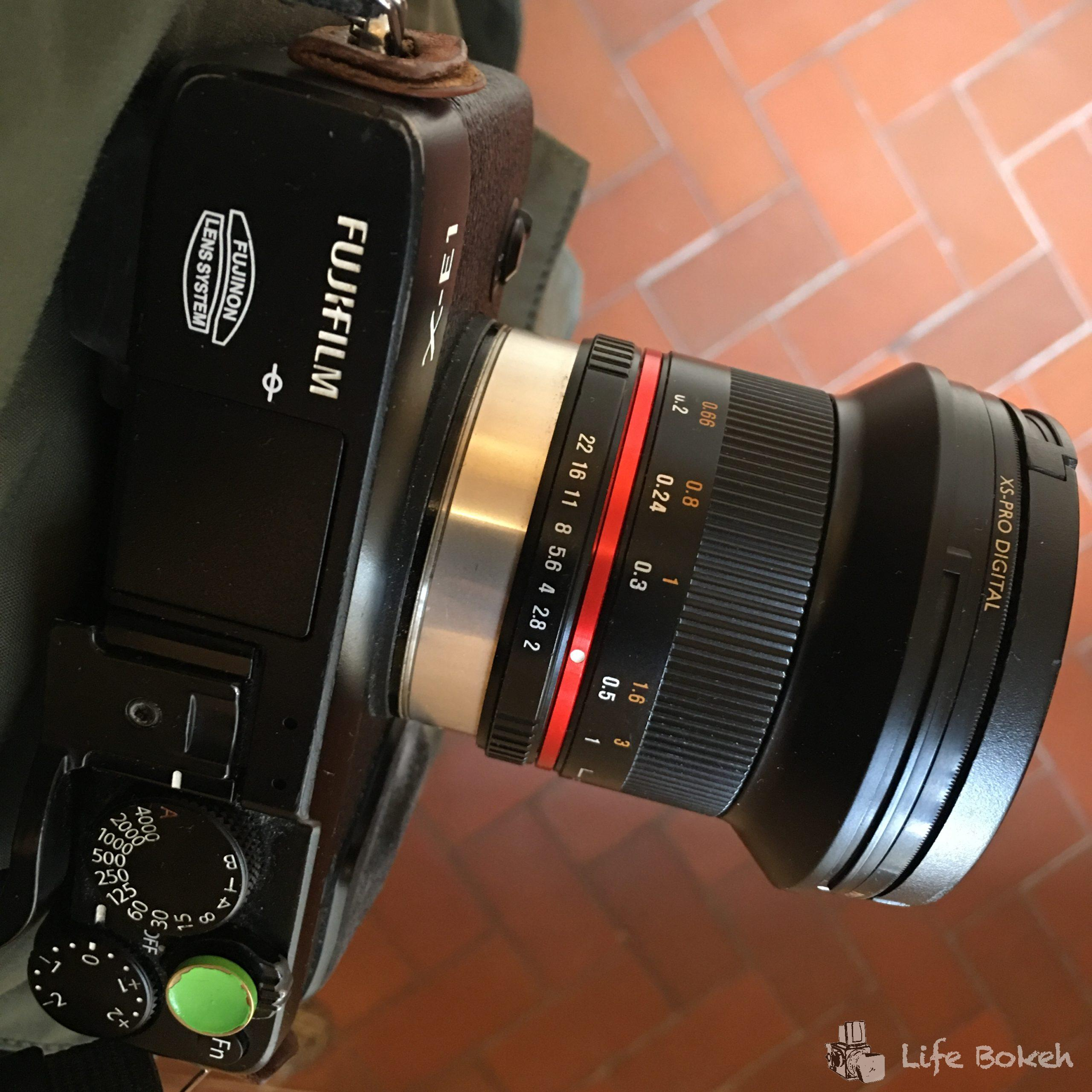 Here's my trusty Fujifilm X-E1 with Samyang 12mm F2 for Fujifilm X-mount